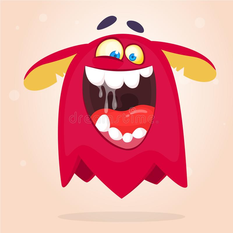 Angry cartoon red monster screaming. Yelling angry monster expression. Halloween vector illustration. Angry cartoon red monster screaming. Yelling angry monster stock illustration
