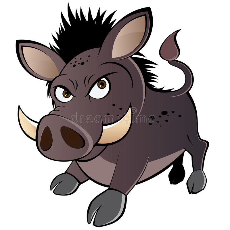 Angry cartoon warthog royalty free illustration