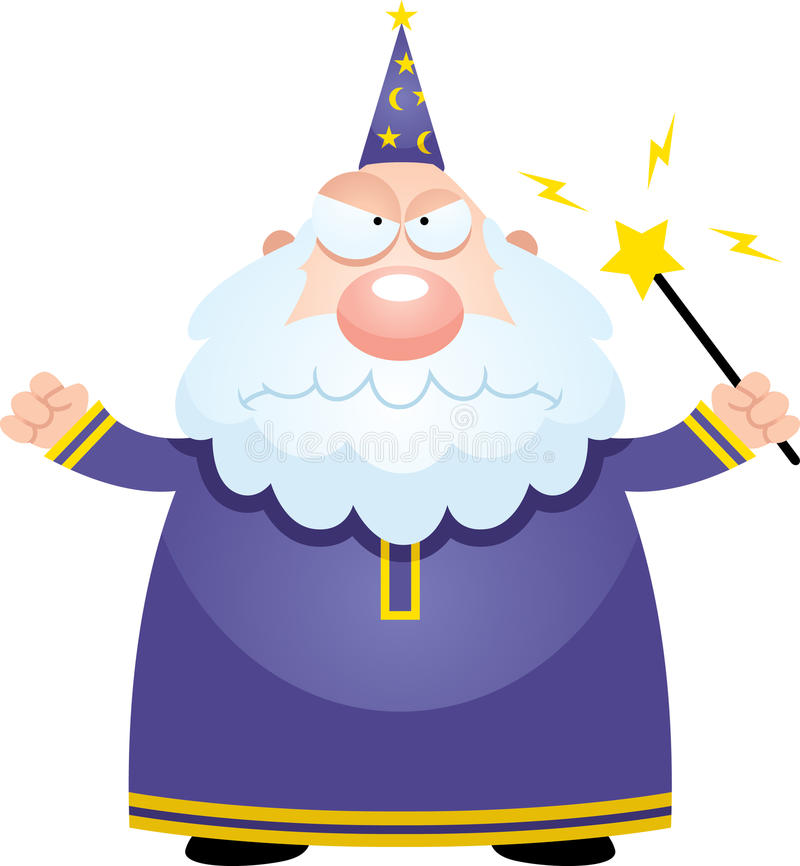 Angry Cartoon Wizard vector illustration