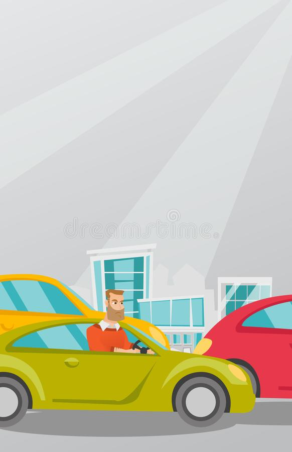 Angry caucasian man in car stuck in traffic jam. Angry caucasian man in a car stuck in a traffic jam. Irritated young hipster man driving a car in a traffic jam stock illustration