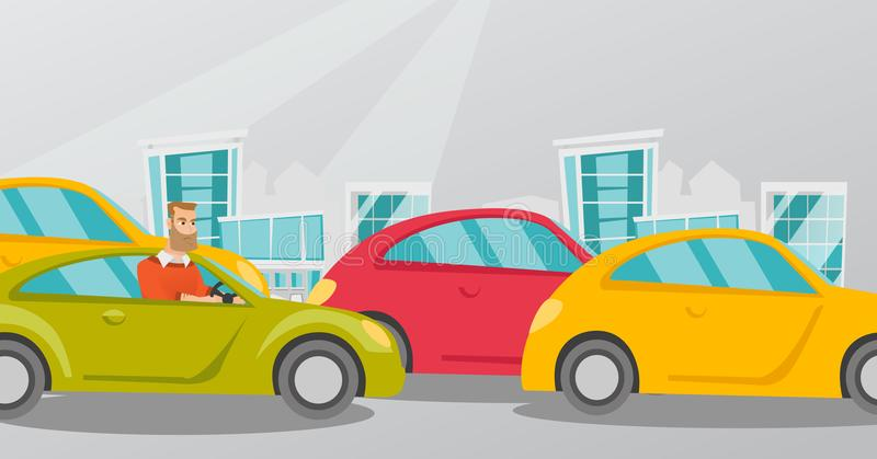 Angry caucasian man in car stuck in traffic jam. Angry caucasian man in a car stuck in a traffic jam. Irritated young hipster man driving a car in traffic jam stock illustration