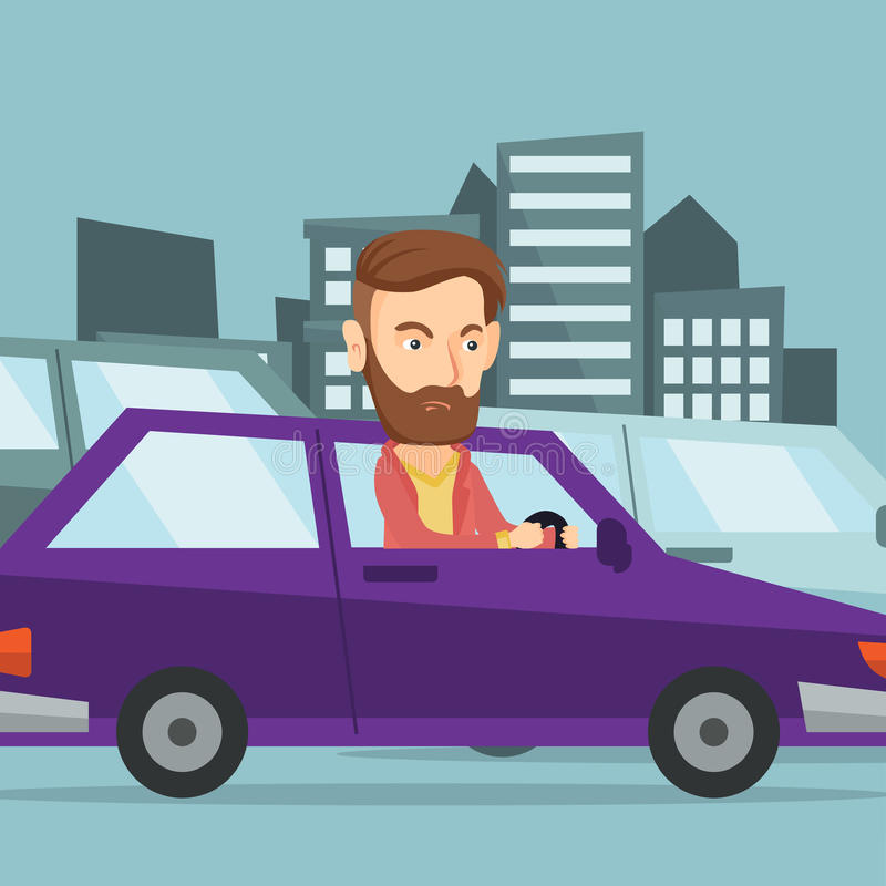 Angry caucasian man in car stuck in traffic jam. Angry Caucasian man in the car stuck in a traffic jam. Irritated young man driving a car in a traffic jam stock illustration