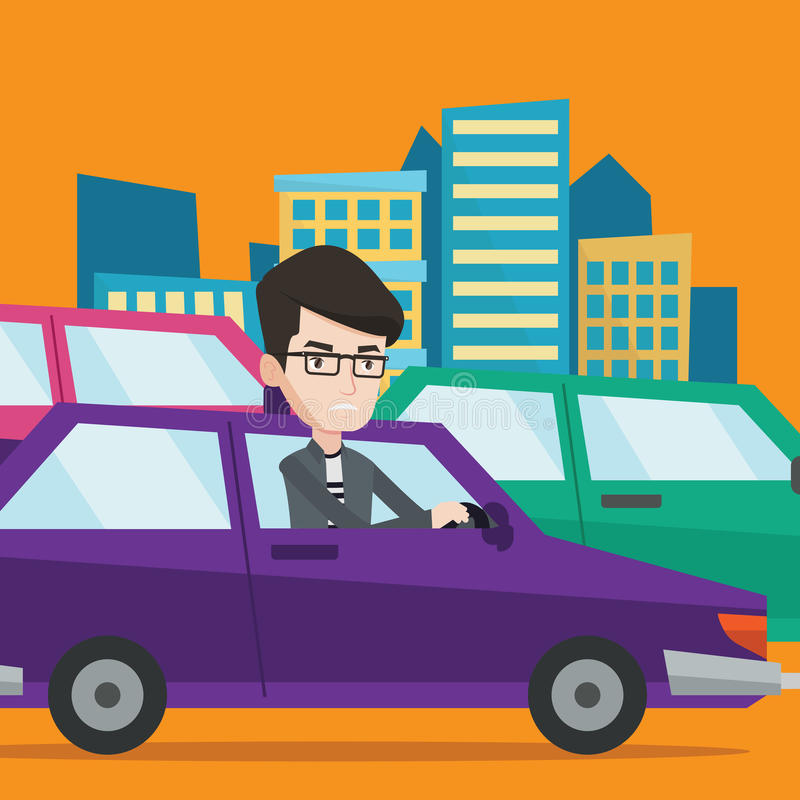 Angry caucasian man in car stuck in traffic jam. Angry caucasian man in the car stuck in a traffic jam. Irritated young man driving a car in a traffic jam royalty free illustration