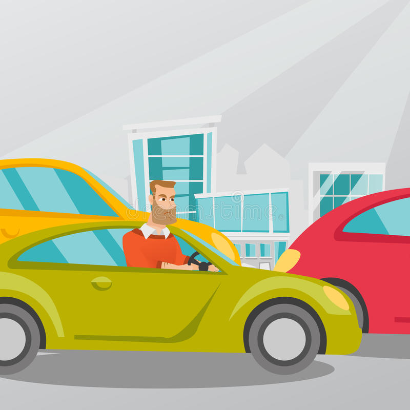 Angry caucasian man in car stuck in traffic jam. Angry caucasian man in a car stuck in a traffic jam. Irritated young hipster man driving a car in a traffic jam royalty free illustration