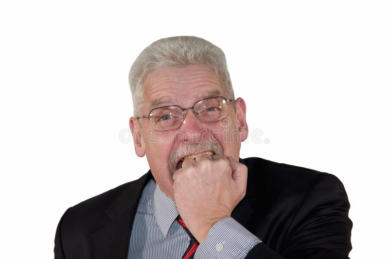 Download Angry Caucasian Senior Manager Biting Into Fist Stock Image - Image: 13145367