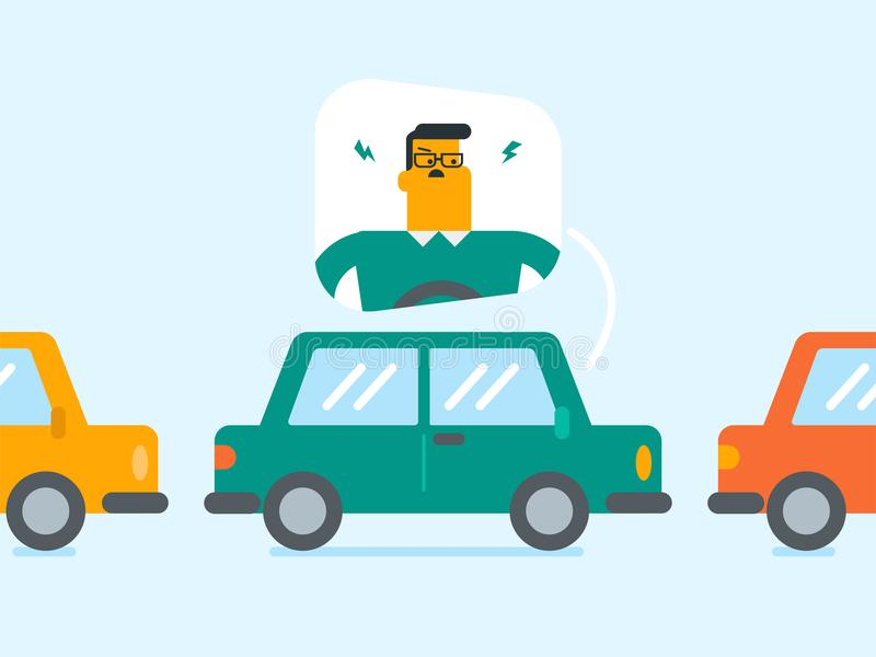 Angry caucasian man in car stuck in traffic jam. Angry caucasian white man in a car stuck in a traffic jam. Irritated young man driving a car in a traffic jam royalty free illustration