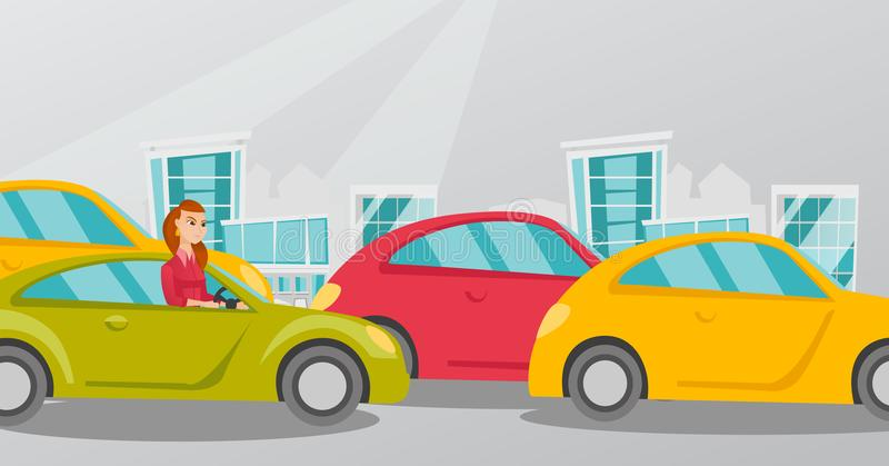 Angry caucasian woman in car stuck in traffic jam. Angry caucasian woman in a car stuck in a traffic jam. Irritated young woman driving a car in a traffic jam royalty free illustration