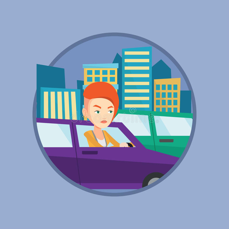 Angry caucasian woman in car stuck in traffic jam. Angry car driver stuck in a traffic jam. Irritated woman driving a car in a traffic jam. Agressive driver stock illustration