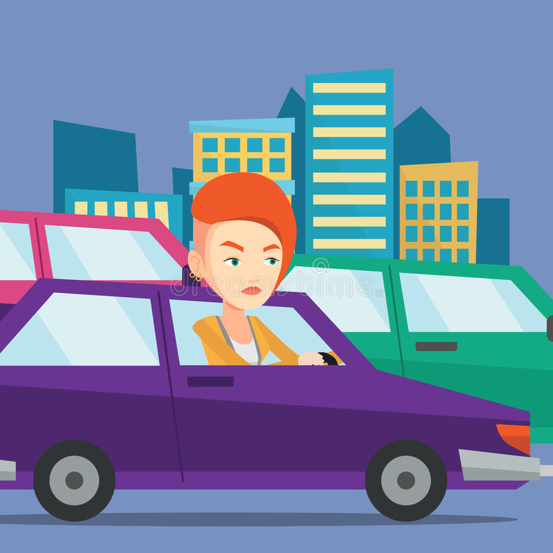 Angry caucasian woman in car stuck in traffic jam. Angry caucasian female car driver stuck in a traffic jam. Irritated young woman driving a car in a traffic stock illustration