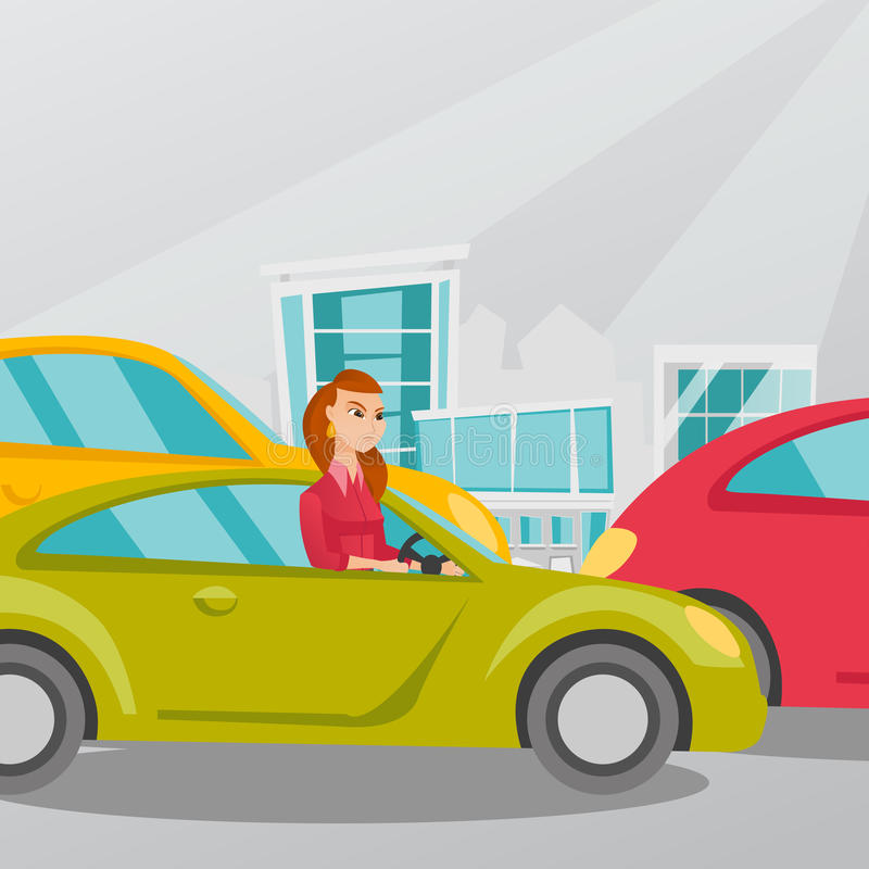 Angry caucasian woman in car stuck in traffic jam. Angry caucasian woman in a car stuck in a traffic jam. Irritated young woman driving a car in a traffic jam vector illustration