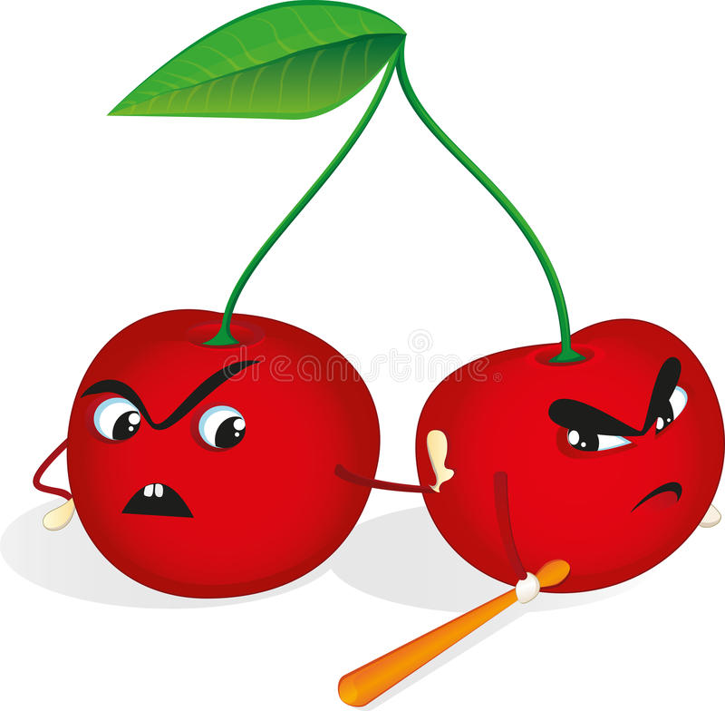 Angry cherries stock illustration