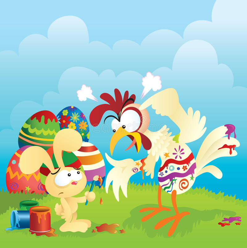 Angry Chicken And Easter Bunny royalty free illustration
