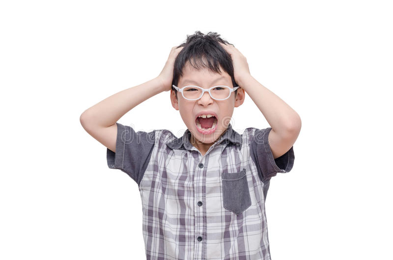 Angry child screaming stock images