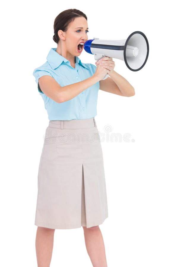 Angry Classy Businesswoman Shouting In Her Megaphone Stock Image