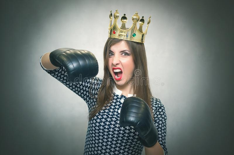 Angry confident woman. Female rivalry. stock image