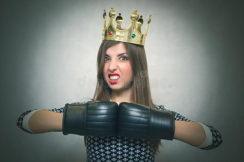 Angry confident woman. Female rivalry. stock photo