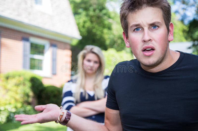 Angry and confused couple stock photography