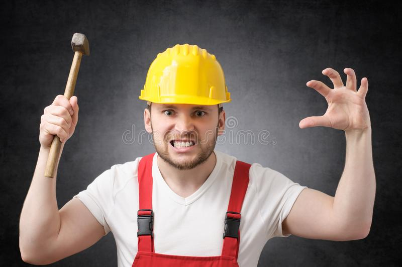 Construction worker with hammer stock image