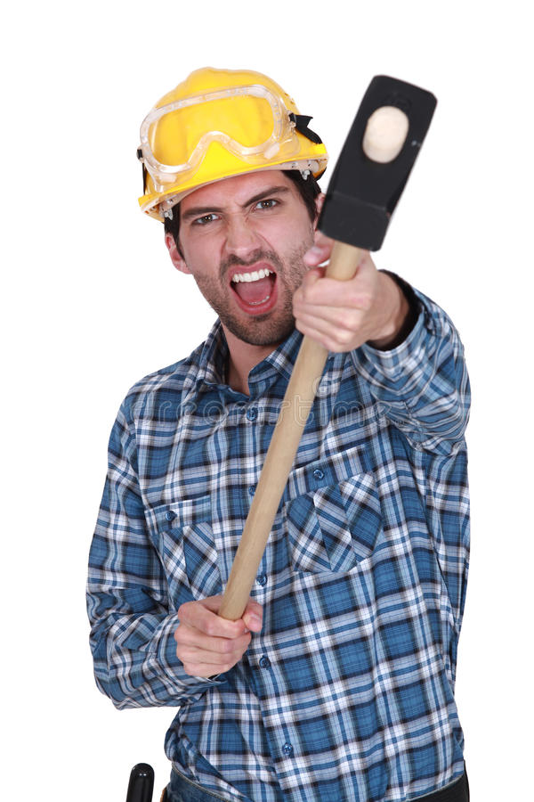 An angry construction worker royalty free stock image