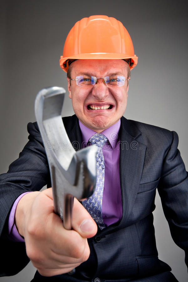 Angry contractor royalty free stock photography