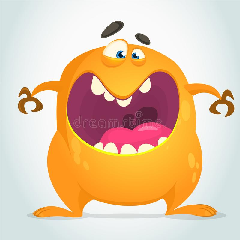 Angry cool cartoon fat monster. Orange vector monster character. vector illustration