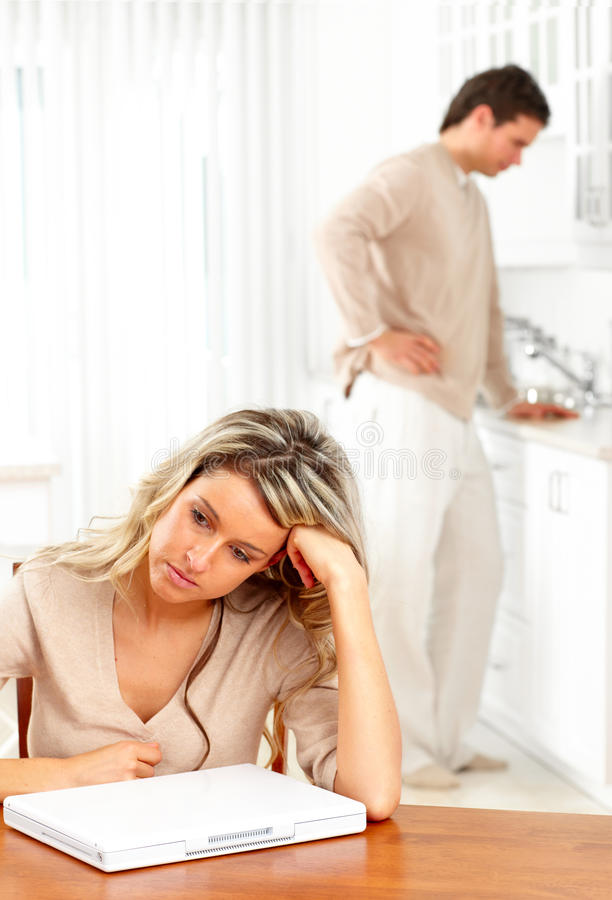 Angry couple. At home. Divorce separation situation