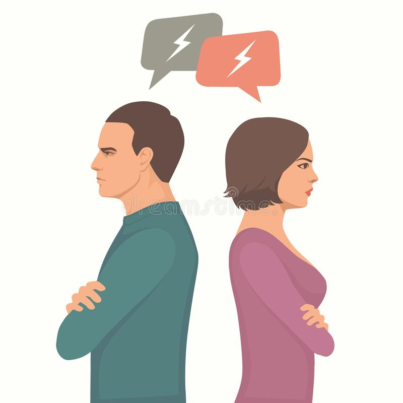 Angry couple fight, parents divorce, royalty free illustration