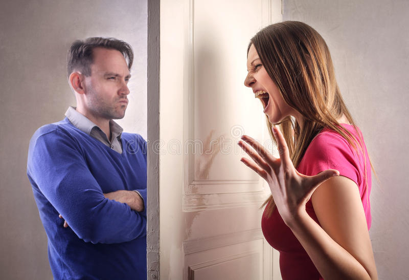 Angry couple stock photography