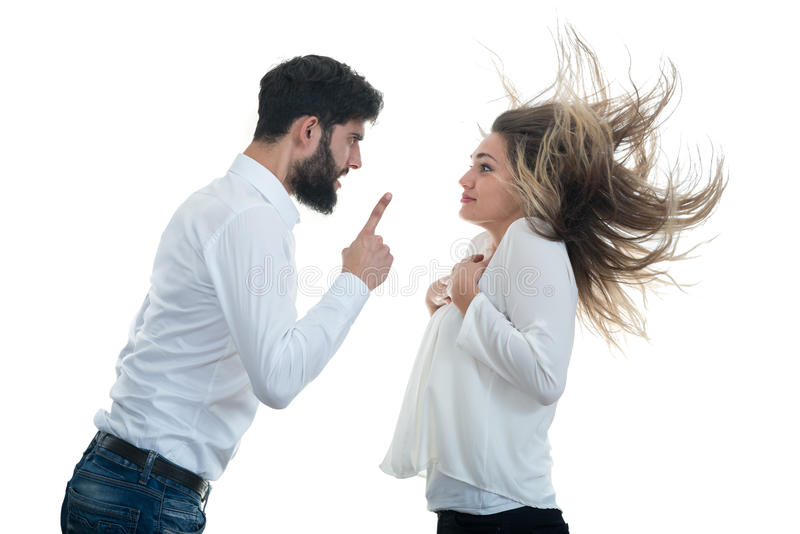 Angry couple shouting at each other on white background royalty free stock photo