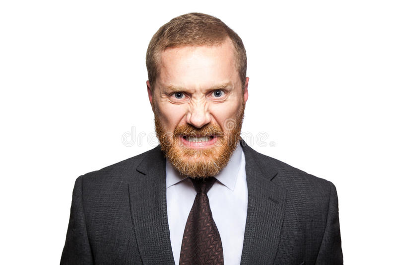 Angry crazy businessman looking at camera. royalty free stock photos