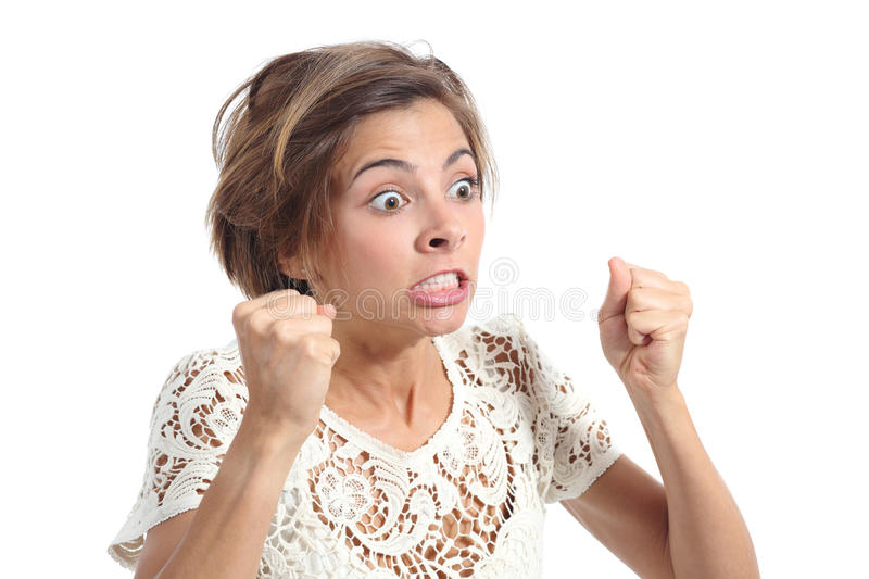 Angry crazy woman with rage expression. Isolated on a white background stock photos