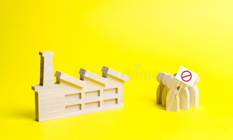 An angry crowd of figures of people with a poster on an yellow background. Strike of factory workers. Public discontent, protest. Against unfair working royalty free stock images