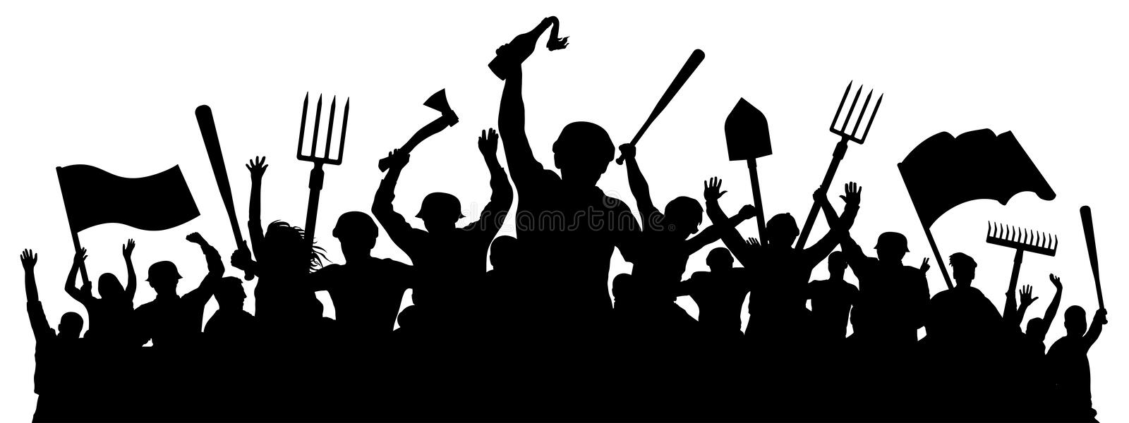Angry crowd of people. Mass riots. Protest revolution silhouette vector vector illustration