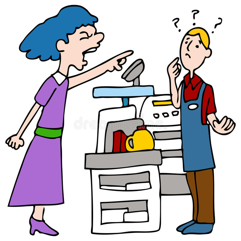 Angry Customer Yelling at Cashier. An image of a customer yelling at a cashier royalty free illustration