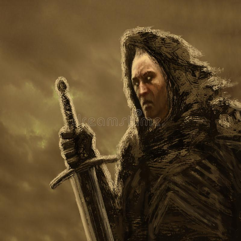 Angry dark knight in hood with sword. Genre of fantasy. Orange color background stock illustration