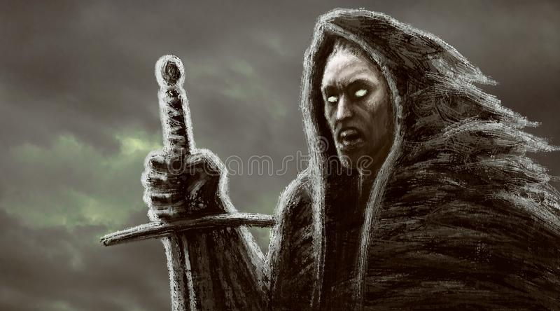 Angry dark monk with sword. Genre of fantasy. Background with clouds royalty free illustration