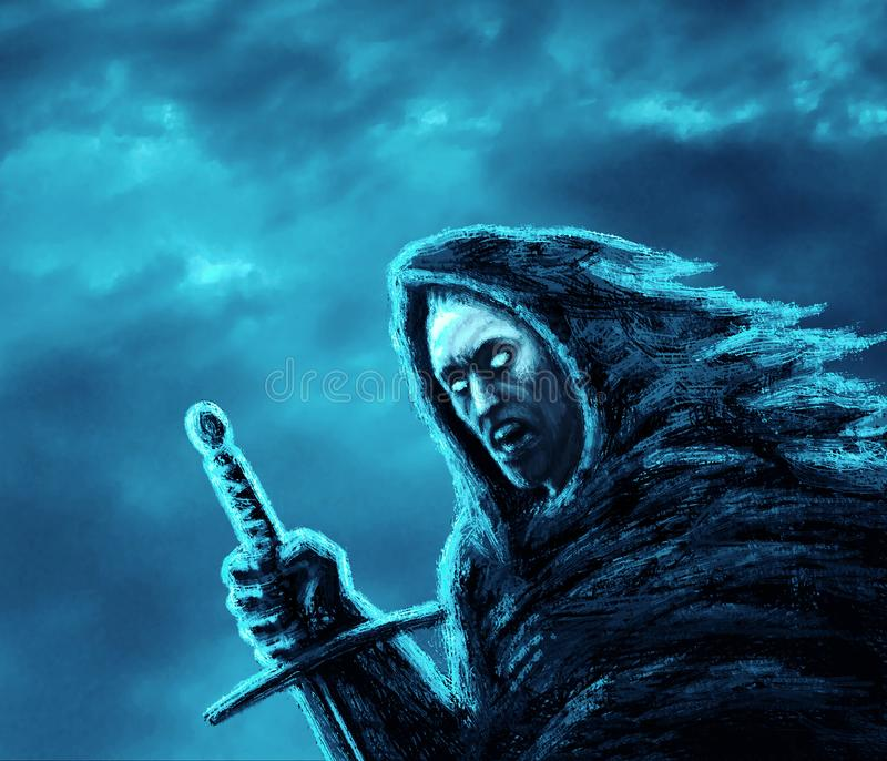 Angry dark warrior with sword. Genre of fantasy. Blue background color stock illustration