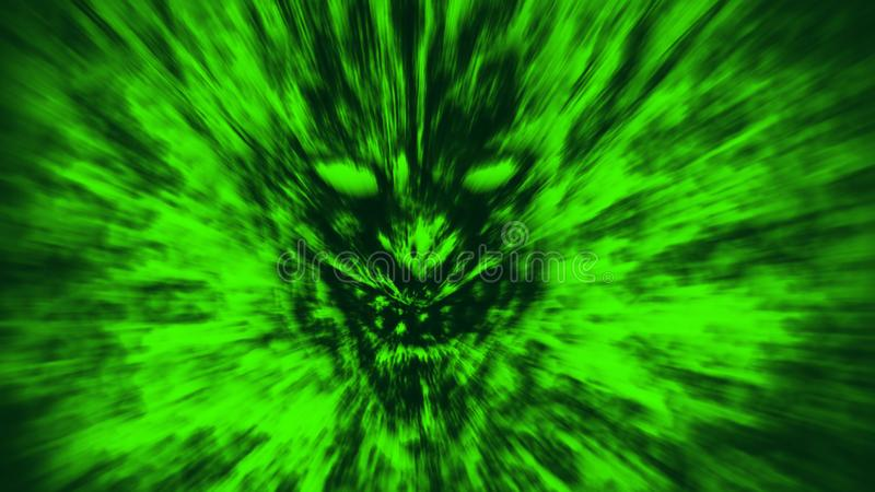 Angry demon face screams in fire. Green color. Angry demon face screams in fire. Genre of horror. Green color background royalty free illustration