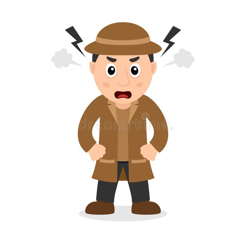 Angry Detective Cartoon Character royalty free illustration