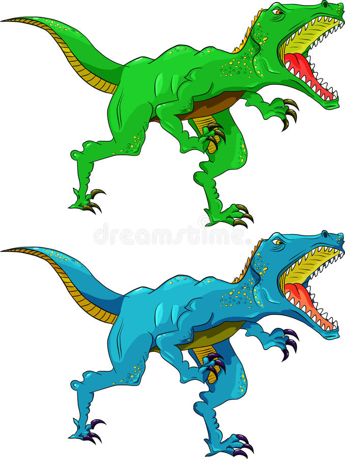 angry dinosaur raptor different color stock illustration