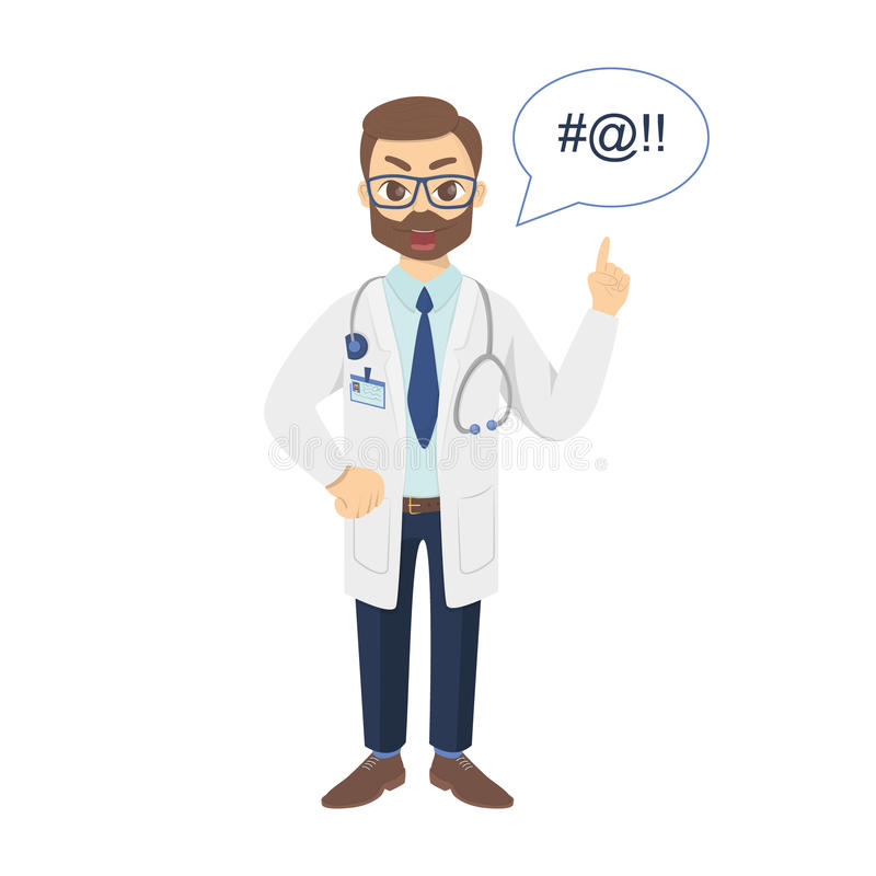 angry doctor. royalty free illustration