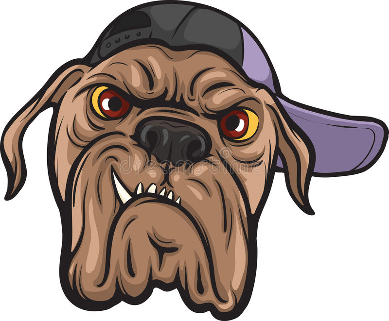Angry dog face stock illustration