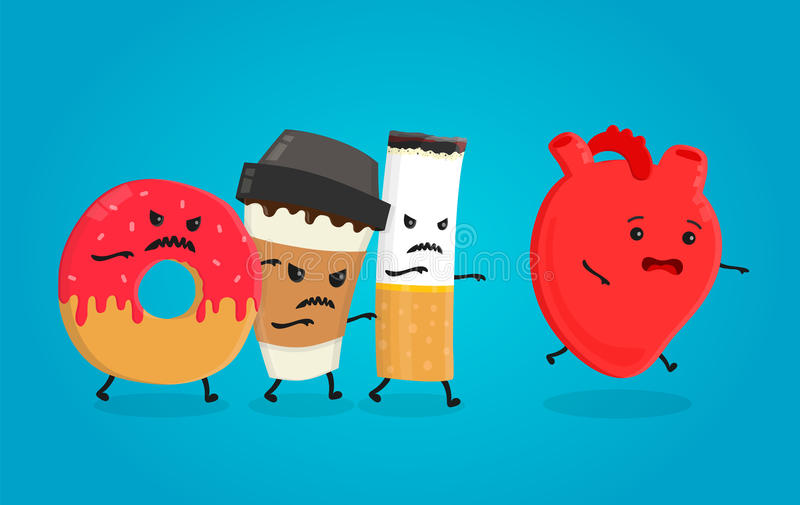 Angry donut, coffee paper cup and cigarette kill healthy heart. Nightmare health heart. Vector flat cartoon character isolated ill vector illustration
