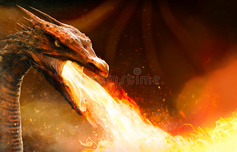 Angry dragon spitting fire. Angry dragon head spitting fire