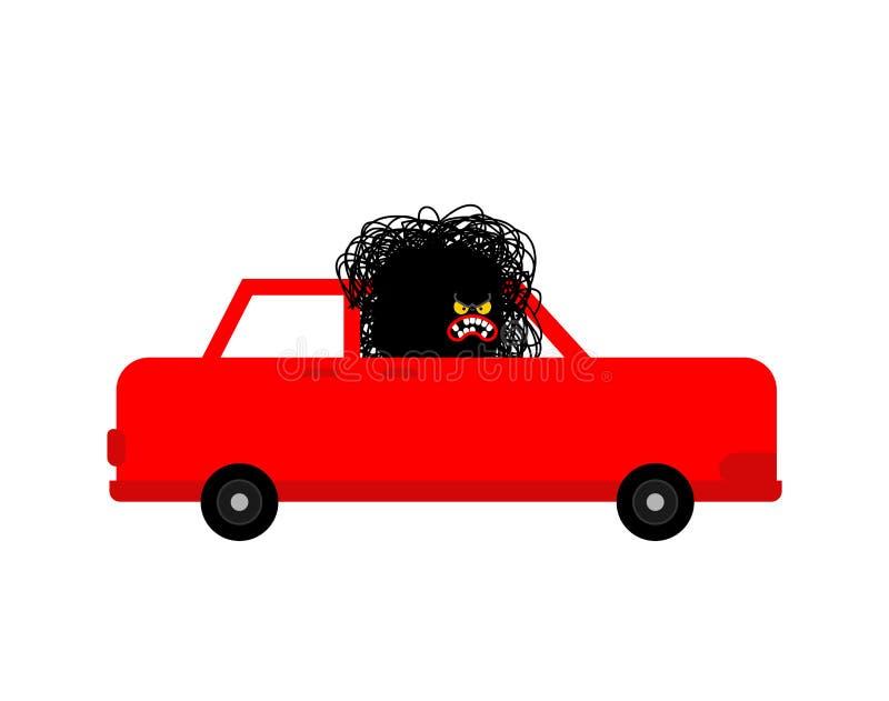 Angry driver Hater. Hatred Black monster in car. Vector illustration.  stock illustration