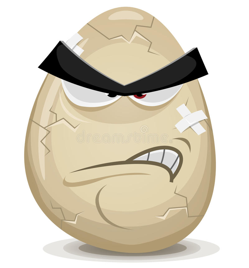 Angry Egg Character royalty free illustration