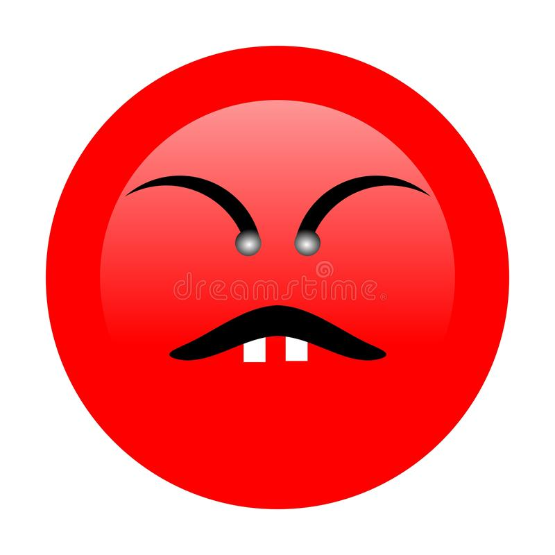 Angry Emoji with white background. Angry emoji emoticon. Easy integration in photo and video stock illustration
