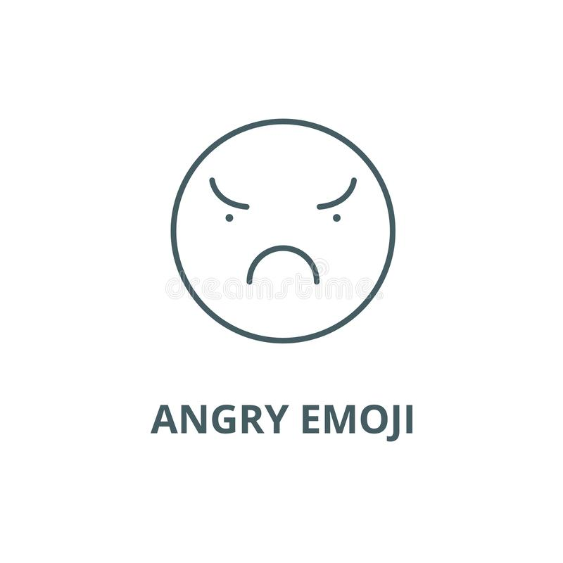 Angry emoji line icon, vector. Angry emoji outline sign, concept symbol, flat illustration. Angry emoji line icon, vector. Angry emoji outline sign, concept royalty free illustration