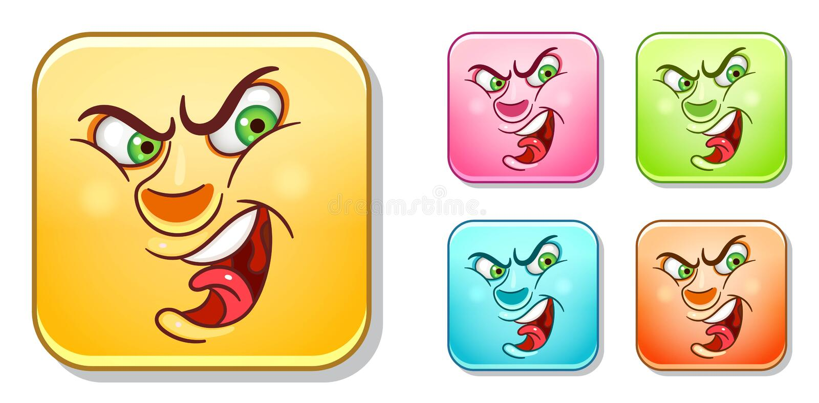 Angry Emoticons collection stock image