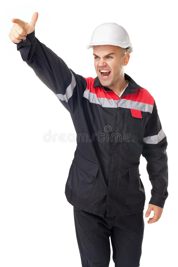Angry engineer shouting and pointing at something royalty free stock photography